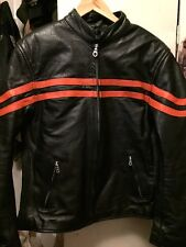 Vintage XELEMENT By USA Leather Motorcycle Biker Black Leather Jacket. Size XL