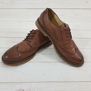 Men's Smart Casual Headland Tan Brown Leather Brogue Shoe Lace Up UK 7