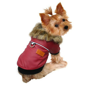 Dog Jacket Waterproof Small Winter Coat with Fur Collar PU Leather Free Shipping