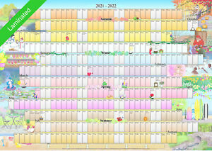 Illustrated Wall Planner 2021-2022 Academic Laminated (A2 Size) Calendar