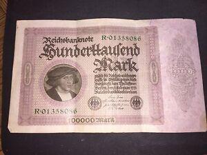 German 1923 - 100000 Mark Banknote R01358086