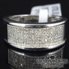 MEN'S WOMEN' LADIES REAL GENUINE DIAMOND WEDDING RING BAND 14K WHITE GOLD FINISH
