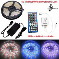 5M SMD 5050 RGBW RGBWW LED Strip Light Tape + Music Remote Controller +12V Power