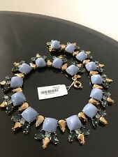 New J Crew Blue Opaque Gold Rhinestone Crystal Necklace Jewellery Gift