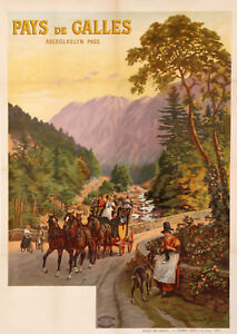 Original Travel Poster - Aunston Clement - North Wales - Aberglaslyn Pass - 1910