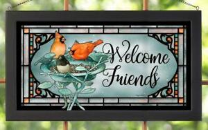 Marjolein Bastin Welcome Friends Cardinals Framed Stained Glass Window Panel