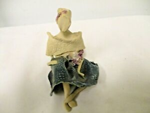 Foreign Clay Pottery Faceless Sitting Woman Lady Figurine-Bottom Artist Initials