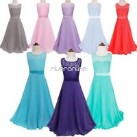 Floor length Lace Princess Junior Bridesmaid Sleeveless Party Flower Girls Dress