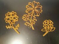 Vintage Homco Flower Wall Decor MCM 1978 Faux Wood Wicker  Rattan Set of 3     A