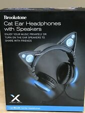 Brookstone Blue Cat Ear Headphones  With Speakers New