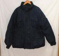 VTG Tommy Hilfiger Mens XL Blue Down Ski Parka Jacket Winter Coat Flag Logo Hood