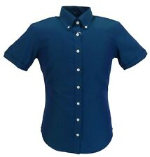 Relco Ladies Blue/Green Tonic Button Down Short Sleeved Shirts