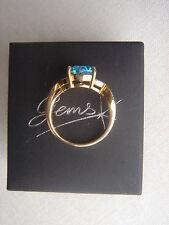 9ct          Blue Topaz  &  Diamond   Gold Ring