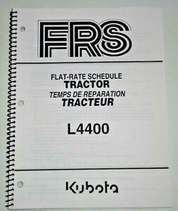 Kubota Dealers L4400 Tractor Flat Rate Schedule Manual Catalog Book OEM 9/04
