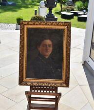 Antiquität Ölgemälde Dame Porträt Frau Damenportrait Altmeister Leinwand um 1860