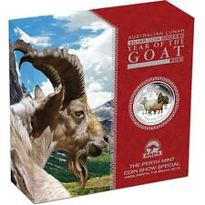 2015 2 oz Silver Australian Year of the Goat Colored Proof Coin In Box with COA