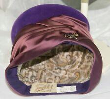 Ladies Vintage Hat JANYTH ROY New York UNION MADE Purple felt satin Ribbon