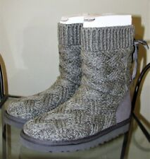 Ugg Lottie Knit Girls Boots Grey Kids Us 2 -New Knitted Bow Gray Heathered