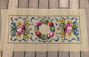 """Vintage Needlepoint Petite Point Unfinished Floral Canvas 46"""" By 22"""" By Hand"""