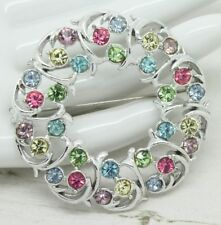 Beautiful Vintage Exquisite CRYSTAL Rhinestone / Silver Circle BROOCH Jewellery