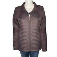 Calia Carrie Underwood Quilted Puffer Jacket sz L Athletic Moto Coat Gray