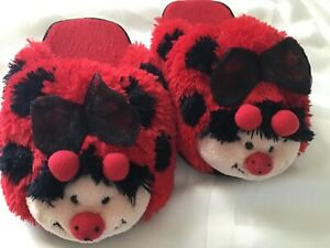 GIRLS SMALL LADYBUG SLIPPERS RED COLOR