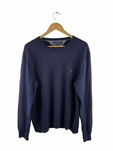 VINTAGE Tommy Hilfiger 100% Wool Sweater Mens Size 2XL Black Long Sleeve Jumper