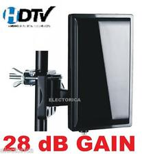 HIGH GAIN HD TV DIGITAL UHF VHF INDOOR-OUTDOOR ANTENNA + COAX + AMP RV BOAT-HDTV