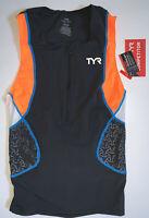 TYR Men's Small Black Orange Tank Singlet Exercise Triathlon Back Zip COMPETITOR