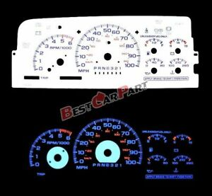 BLUE 95-98 Chevy C/K 1500 Silverado WHITE FACE REVERSE INDIGLO GLOW GAUGES