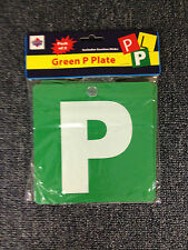 P Plates Plastic with Suction cup Green with white P set of 2 New