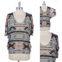 Multi Tribal Print Scoop Neck Dolman Batwing Sleeve Knit Top High Low Hem SMALL