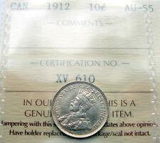 1912 Ten Cents ICCS Graded AU-55 ** BEAUTIFUL AU-UNC Early George V Canada Dime
