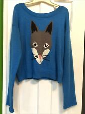 Juniors Size 8 Divided by H&M Angora Sweater Blue Grey Cat Face Super Soft Cute