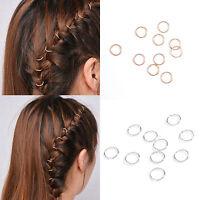 10Pc Fashion Women Girl Gold Silver Hip-Hop Braid Ring Hair Clip Hair Pin Access