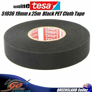 TESA 51036 19mm x 25m, Black PET Cloth Tape Cable Looms,Wiring Harness Tape DNA