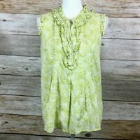 Ann Taylor Loft Sleeveless Ruffle Top Green Tropical Print Women's Size Large