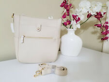 NWT Beige Pebbled PU Leather Shoulder Bag Tote Purse with Zip Pocket