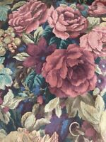 DAN RIVER VINTAGE QUEEN SHEET FITTED ONE FLORAL Shabby Chic red pink made USA