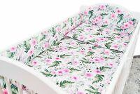 5PC BABY BEDDING SET BUMPER ALLROUND PILLOW DUVET FIT COT 120x60 Garden Flowers