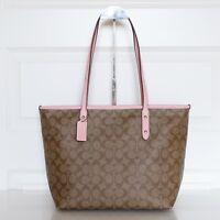 New Coach F58292 Signature City Zip Tote Handbag Purse Bag Khaki/Blush