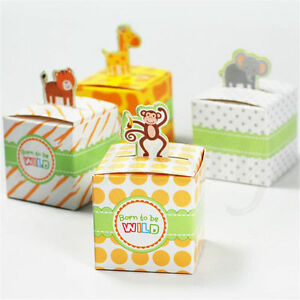 10pcs Cartoon Animals Baby Shower Favors Gift Box Kids Birthday Party Candy Box