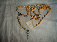 VTG GENUINE SILVER & OLIVE COLOR WOOD ROUND PRAYER BEADS MARY JESUS ROSARY W/TAG