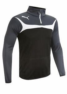 "Puma Esito 3 1/4 Zip Training Top, Black, Grey & White, XS, Approx 36"" Chest"