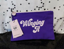 Winging It Purple Canvas Zipper Pouch Organize Cosmetic Case Bag NEW*