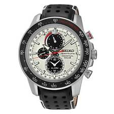 Seiko SSC359 Men's Solar White Dial Black Band Chrono Alarm Watch