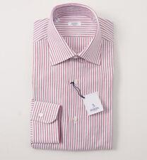NWT $350 BARBA NAPOLI Burgundy and White Stripe Cotton Dress Shirt 17 x 37