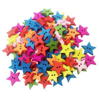100pcs 2 trous jolis boutons en bois en bois boutons en forme d'étoile