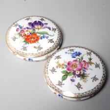 Near Pair Vintage Singer Limoges Porcelain Shallow Vanity Jars