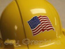 American Flag Hard Hat Sticker   USA Flags Biker Motorcycle Helmet Decal Label